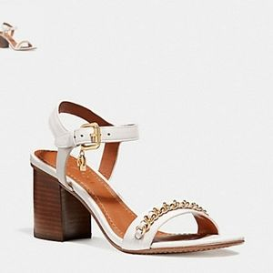 COACH size 7.5 Chain Mid Heel Sandal CHALK